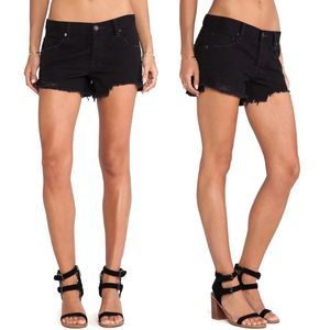 Free People Shorts Black Denim Shark Bite 24 XS